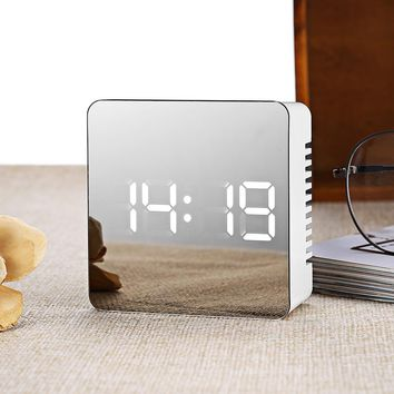 LED Alarm Clock Digital Electronic LED Mirror Clock Multifunction Temperature Snooze Large Display Home Decor