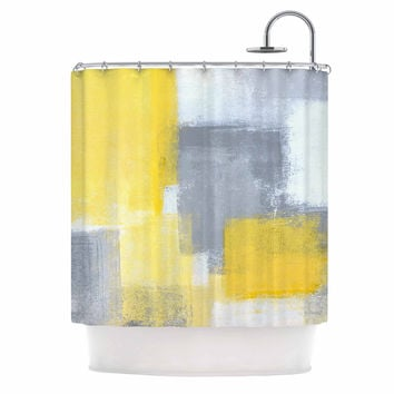 "CarolLynn Tice ""Steady"" Yellow Gray Shower Curtain"