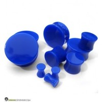 Blue Double Flare Solid Plugs (8 Gauge - 1 Inch) | UrbanBodyJewelry.com