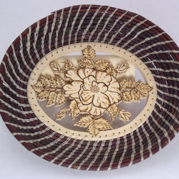 Decorative Coiled Willow bowl with Birch pyrographic flower design- home decor - wood bowl
