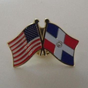 Dominican Repbliic Flag And USA Lapel Pin Crossed Friendship Pin Bandera i