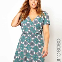 ASOS Curve | ASOS CURVE Exclusive Wrap Dress in Tile Print at ASOS