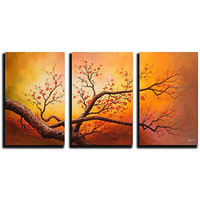 Hand-painted Oil on Gallery-wrapped Canvas Art (Set of 3) | Overstock.com