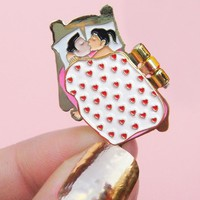Couple In Bed Enamel Pin - The blanket opens!