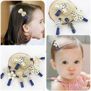 Top Grade Boutique Little Girl Hairpin Baby Kids Hair Clip Tiaras Flower Charm Pearl Child HeadWear Accessories Toddler Hairpins