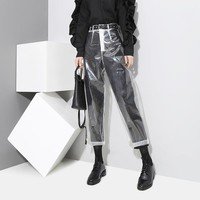 Women All-match Fashion Perspective Transparent High Waist Leisure Pants Bodycon Show Thin Collocation Trousers