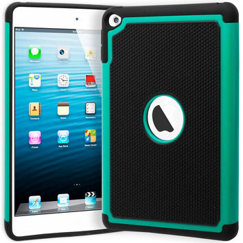 iPad Mini 4 Hybrid  Black Cover Teal & Black Shock Case