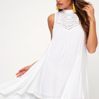 Issi White Crochet Lace High-Low Dress