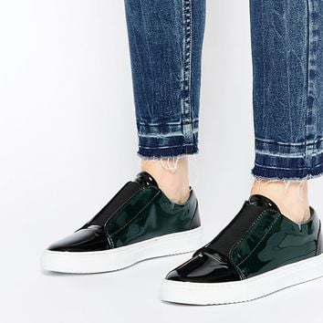 Selected Femme Sereena Dark Green Patent Leather Trainers