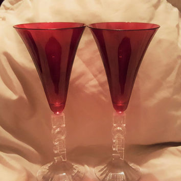 "A Set of Two Lovely Cristal d'Arques ""Noel"" Christmas Red Crystal Goblets, Champagne Glasses"
