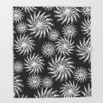 Abstract Silver, Spinning Stars Pattern - mixed size Throw Blanket by Peter Reiss