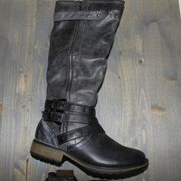 Vintage Brushed Gray Black Tall Riding Boots