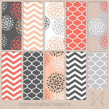 Pink, grey and Coral Digital paper pack. Quatrefoil, Chevron and modern flowers for scrapbooking, graphic design, blog backgrounds etc
