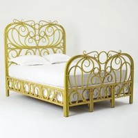 Radana Rattan Bed by Anthropologie Chartreuse Queen Furniture