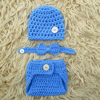 Set Blue Newborn Button Hat Beanie Bow Tie & Diaper Cover