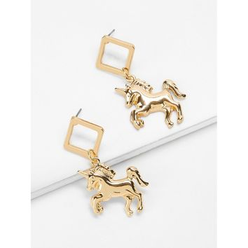 Gold Unicorn Drop Earrings