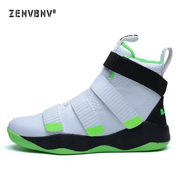 Zenvbnv New Lebron James Professional Basketball Shoes Men Sport Sneakers Mens Breathable Air Zoom Cushion Hook Loop Male Shoes