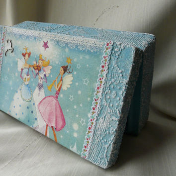Christmas Wooden Box, Blue Jewelry Box, Girl Trinket Box, Fairy Box, Christmas Memory Box, Storage Box