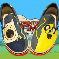 Adventure Time Hand-Painted Slip-ons