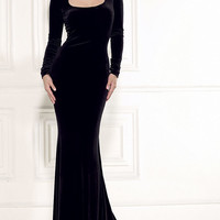 Black Scoop Neck Long Sleeve Bodycon Maxi Dress