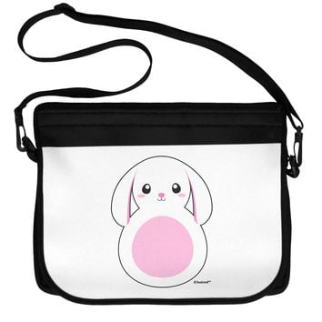TooLoud Cute Bunny with Floppy Ears - Pink Neoprene Laptop Shoulder Bag