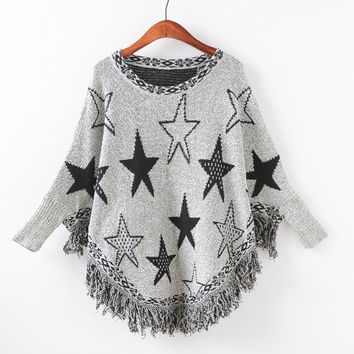 Knit Batwing Sleeve Tassels Pullover Scarf Sweater [9101526087]