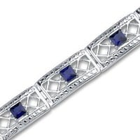 Created Sapphire Bracelet Sterling Silver Victorian Style