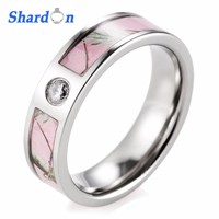 SHARDON rings Pink Camo Engagement Wedding Ring Titanium CZ Crystal Wild Tree Fashion Ring for Women Wedding Band rings women