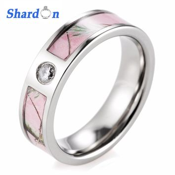 shardon rings pink camo engagement wedding ring titanium cz crystal wild tree fashion ring for women - Camo Wedding Rings For Women