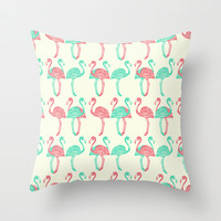 American Flamingos (pink & green) Throw Pillow by The Wallpaper Files