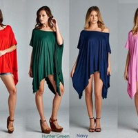 NEW Cherish Piko Style Made in USA Flowy Asymmetrical Tunic Tops 4 PC LOT