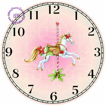 """Merry-Go-Around Horse Art - -DIY Digital Collage - 12.5"""" DIA for 12"""" Clock Face Art - Crafts Projects"""