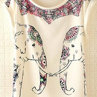 Cute Elephants Print Shirt with Flora Details TFC631 from topsales