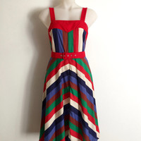 Vintage 1970s 'Ivan Hamilton' multicoloured striped cotton sundress with chevron striped skirt and matching belt