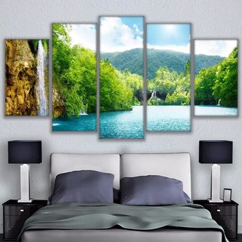 5 Pieces River Waterfall Mountain Nature Landscape Poster Home Decor