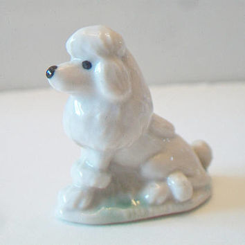 Small White Poodle Figurine Vintage Porcelain Collectible Kitsch Home Decor