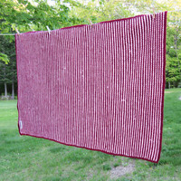 Vintage crochet afghan blanket throw in ruby / raspberry red and very light pink - Farmhouse cottage chic decor