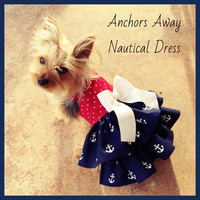 Anchors Away Nautical Dog Dress Customizable to your dogs measurements!  Size  XXS XS Small