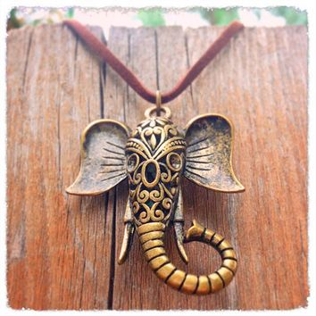 Handmade Antique Bronze Elephant Necklace
