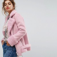 H! By Henry Holland Oversized Faux Shearling Jacket at asos.com