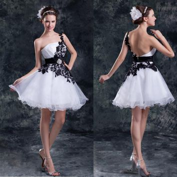 2015 Fashionbale short sexy Organza cocktail dresses open back curto vestido de festa party dress homecoming dress
