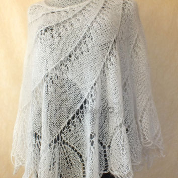 Snow White Wedding Mohair Wool Handmade Lace Knit Round Shawl Wrap Brie Bridesmaid Fall Winter Fashion Woman Lady