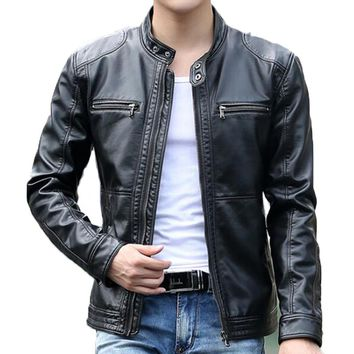 Mens Jacket New Genuine Leather Vintage Retro Biker Casual coat slim fit