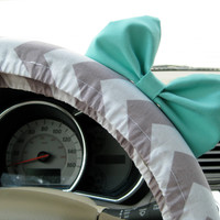 The Original Weathered Grey Chevron Steering Wheel Cover with Matching Seafoam Blue Bow