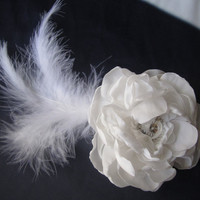 pabric plower hair comb with feather