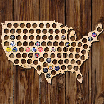 Beer Cap Map of USA - Made of Beautiful Birch Wood! - Beer Cap Art