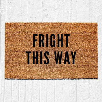 "Fright This Way Doormat | Welcome Mat | Halloween Decor | Spooky Decor | Fall Decor | Funny Doormat | Outdoor Rug | 18""x30"" Rug 