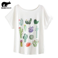 New 2017 Summer Women Desert Cactus Print T Shirts