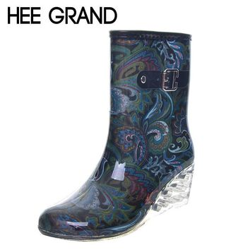 HEE GRAND Women Rubber Boots Transparent Wedges Heel Woman Rainboots Fashion Rainning