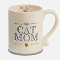 """Cat Mom"" Ceramic Coffee Mug Meow Animal Pet Lover Gift Grasslands Road"